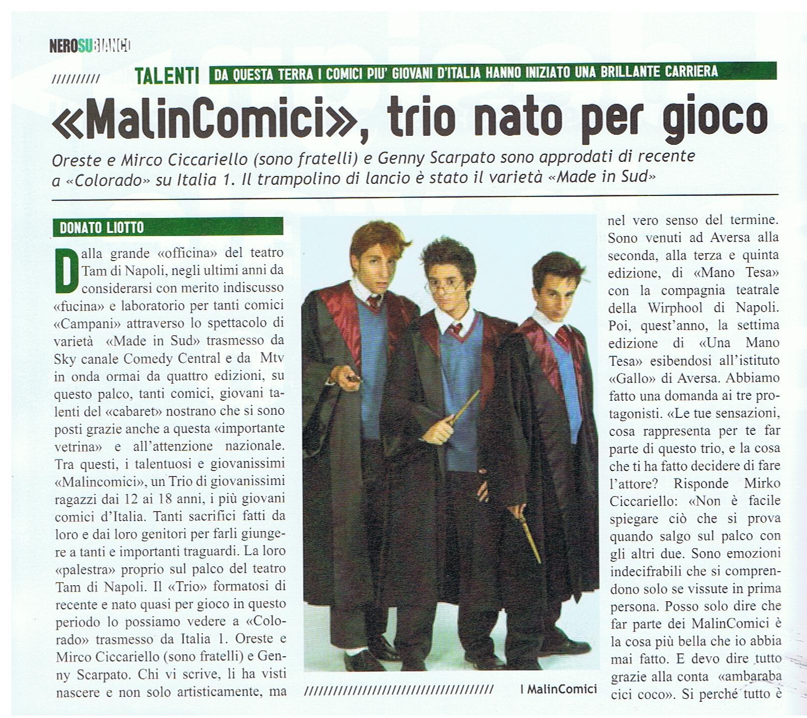 """To Da Loos November 2011: La Bella Favola Di Tre Giovani Talenti """"i Malincomici"""""""